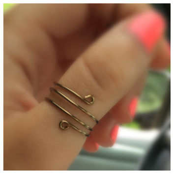 Antique Brass Thumb Ring, Adjustable Wire