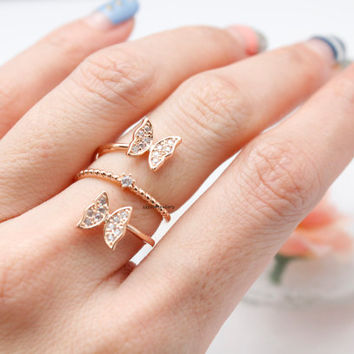 Butterfly Statement coiled ring detailed in CZ crystal-Adjustable Ring, R0779S
