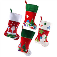 Santa with Friends Christmas Stockings, Red/Green, 20-Inch, 4-Piece