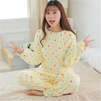 Winter Spring Women Coral Fluffy Pajamas Animal Cartoon Print Pajama Sets Cotton Rayon Long Sleeve Korean Loose Sleepwear M-2XL