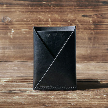 Leather Folded Card Wallet #Black