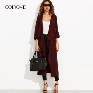 COLROVIE Burgundy Belted Rolled Up Split Back Self Tie Long Trench Coat Women 2018 New Autumn Elegant Office Lady Outerwear