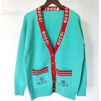 GUCCI Newest Fashion Women Casual Embroidery Knit V Collar Cardigan Jacket Coat