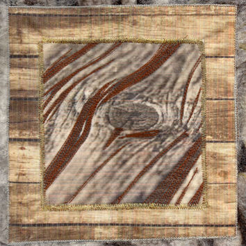 Fiber Wall Hanging of Wood with Nunofelt and Machine Stitching, Fiber Art, Abstract Art