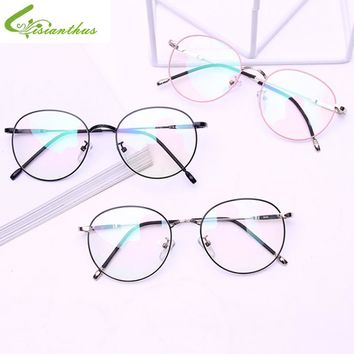 Vintage Women Circle Eye Glasses Men Frames Plain Mirror Clear Lens Literary Metal Oval Frame Glasses gafas Feminino Masculino