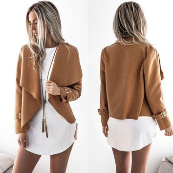 Women Solid Color Long Sleeves Coat