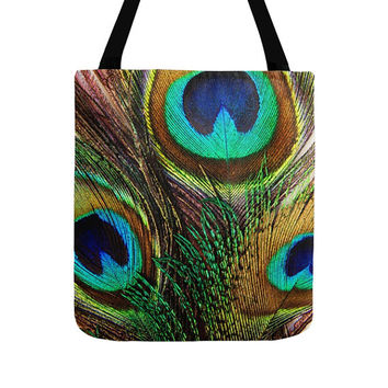 Peacock Feathers Tote Bag, Fashion Tote, Modern Bags, Beautiful Colors, Bohemian Gift, Vintage Style, Animal Photography, Bird Photo, Totes