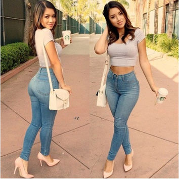 New Sexy Women Denim Skinny Pants High Waist Stretch Jeans Slim Pencil Trousers [9305915975]