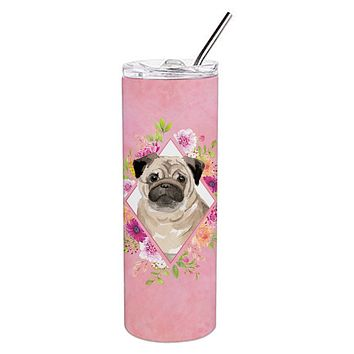 Fawn Pug Pink Flowers Double Walled Stainless Steel 20 oz Skinny Tumbler CK4218TBL20