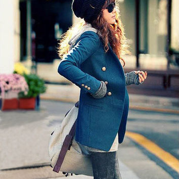 Blue Outerwear Double Breast Wool Women Coat /Women Suits/Spring Jacket-WH149 S,M,L,XL,XXL