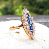 Vintage Sapphire Rose Cut Diamond Ring, Rich Blue Sapphires, Striking and Sparkly in Rose Gold, approx .84 carats, Victorian Design