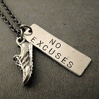 RUN with NO EXCUSES Dog Tag Style Necklace on 18 inch Gunmetal Chain - Pewter Running Shoe Charm with Hand Hammered Nickel Silver Hand Stamped Pendant