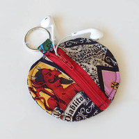 Loteria Earbud Holder / Coin Pouch / Mexican Coin Purse / El Diablo / Earbud Case / Ear Bud Holder / Back to School / Small Circle Pouch