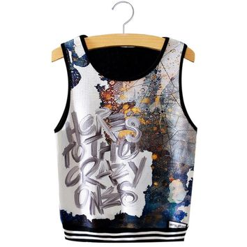 Trendy Round Collar Seeleless Print Slim Tank Top for Women