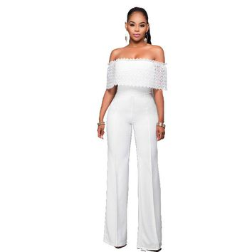 African Women Clothing Elegant Lace Hollow Out Ruffle Off the Shoulder Slash Neck White Casual Party Long Pants Romper Jumpsuit