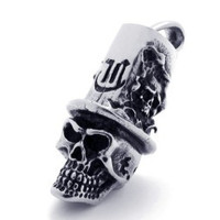 Stainless Steel Skull With Top Hat Pendant