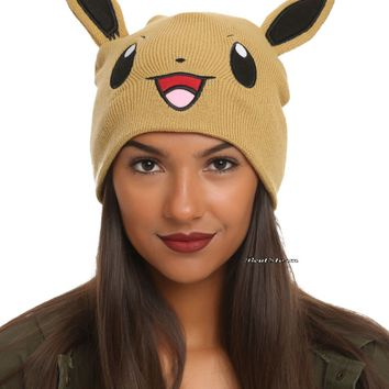 Licensed cool Pokemon GO EEVEE EARS Watchman Knit Tan Beanie Hat Ski Cap Cosplay Nintendo NEW