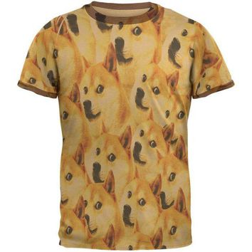 DCCKJY1 Happy Dog Doge Meme Mens Ringer T Shirt