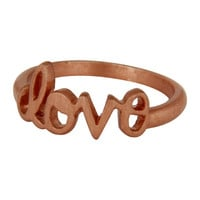 18K Rose Gold Plated Sterling Silver Cursive Style Love Ring