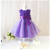 New Arrival Sweet Baby Toddler Girls Kids Children Princess Sleeveless Flowers Knots Wedding Party Dress Tutu Outfit#333 = 1933103748