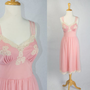 Vintage 1950s Pink Ballerina Nightgown Slip Dress Cream Lace Applique Pin-up M 34