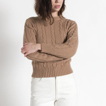 Vintage 70s Taupe Brown Cozy Cableknit Sweater | S/M