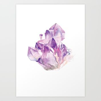 Amethyst Cluster Art Print by Andrea Fairservice