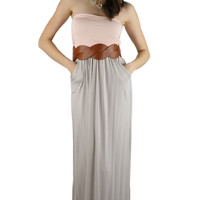 Strapless Color Block Maxi Dress - Peach/Taupe