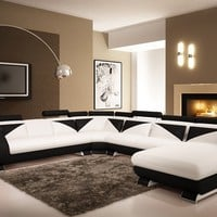 Divani Casa 7395 Modern White and Black Leather Sectional Sofa with Headrests