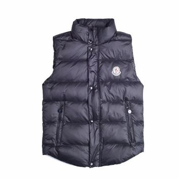 Moncler Men's Dark Nnavy Down Full Zip Button Down Vest - Best Deal Online