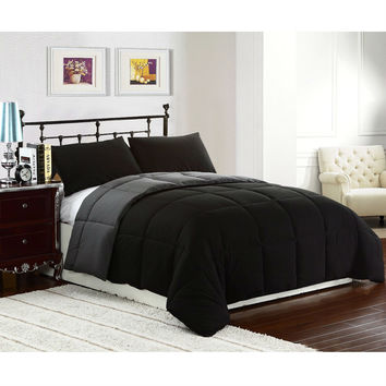 King Size 3 Piece Black Grey Microfiber Comforter Set With 2 Shams