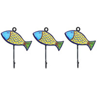 Pottery & Iron - Beach House Fish Wall Hooks - Set of 3 - Iron Hangers for Coats, Aprons, Hats, Towels, Pot Holders (Yellow)