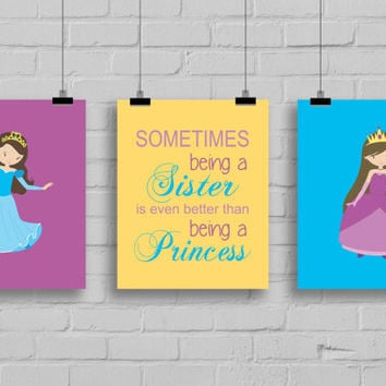 Sisters Wall Art - Princess Sister Prints, Set of 3 Prints, Princess Decor, Princess Playroom, Girls Room Decor, Sisters Nursery, Typography
