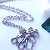 Steampunk Octopus Necklace antique silver pirates jewelry