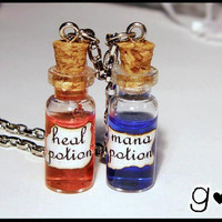Mana & Heal Potion Bottle Necklace - Geekery - Gamer - Kawaii - Liquid - Bottle Jewelry - Gothic Alternative Pendant - Health Potion