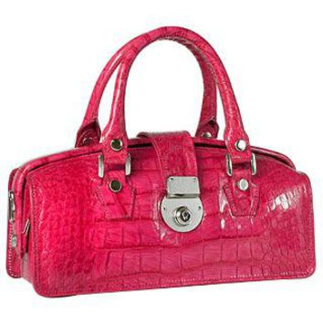 L.A.P.A. Designer Handbags Hot Pink Croco-embossed Mini Doctor Style Bag