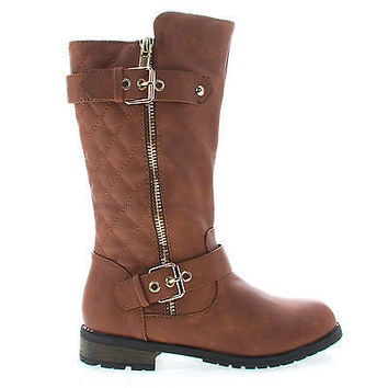 Mango21K Tan Pu By Link, Children's Girls Knee High Quilted Stitched Buckle Riding Boots