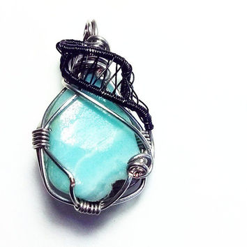 Amazonite Pendant Black and Silver Wire Wrap Handmade Necklace Pendant Healing Jewelry Unique Jewelry Wire Jewelry Nicle Free OOAK Funky