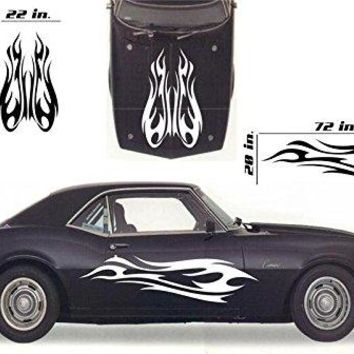Tribal Flame Car Decals Hood Decal Side Set Vinyl Sticker Auto Decor Graphic Kit HF036