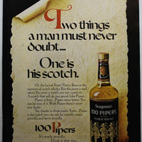 Vintage 1971 Seagram's 100 Pipers Scotch Whisky Whiskey Playboy Ad Man Cave