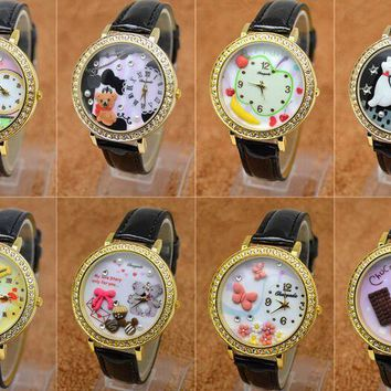 polymer clay bear horse banana chocolate girl students watch European and American fashion watches watches English furniture