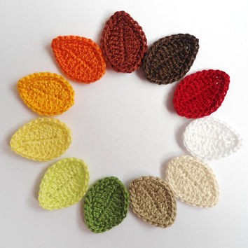 Applique Leaves From Cotton Yarn- Crochet Leaves Supplies For Clothing, Hair Clips, Handbags 10pcs