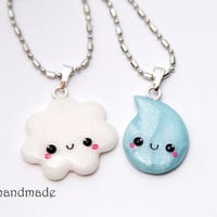 Kawaii Cloud and Rain Drop Best Friends Necklaces - Made to order