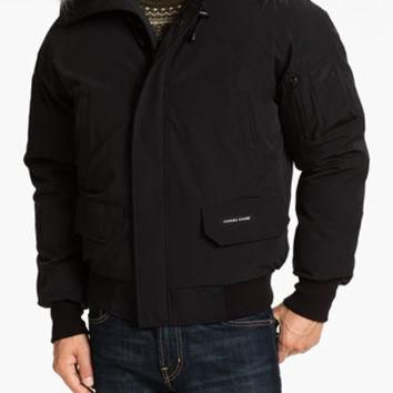 Men's Canada Goose 'Chilliwack' Down Bomber Jacket with Genuine Coyote Trim, Size Larg