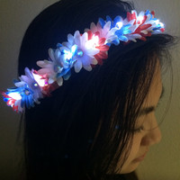 Red White and Blue Light Up LED Flower Crown for Festivals, EDC, EDM Raves or Concerts (20 LEDs)