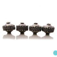 Four 10mm 925 Sterling Silver Bali Beads, 5.3 grams. Four Sterling Silver Granulation Barrel Beads Handcrafted in Bali.