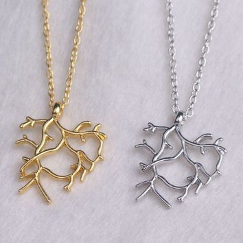 2017 Beauty and the Beast Necklace Gold Silver Tree Twig Branch Necklaces Pendants Belle Dance Scene Costume Cosplay Jewelry