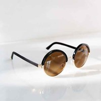 Leather-Wrap Round Sunglasses - Black One