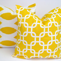 Yellow Pillow Set.TWO PIECE SET.18x18 inch.Pillow Cover Set.Printed Fabric Front and Back.Ikat and Geometric.Yellow Pillows
