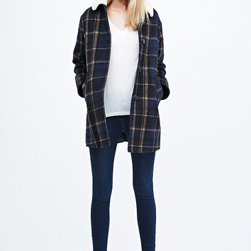 Cooperative Borg Check Swing Coat in Navy - Urban Outfitters